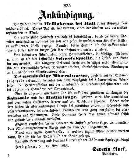 Badhotel Heiligkreuz in den Innsbrucker Nachrichten 1855