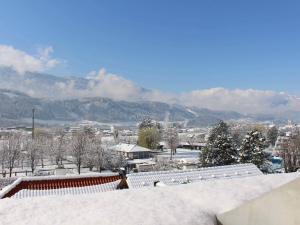 Winter Aussicht vom Zimmer Hotel Heiligkreuz Hall bei Innsbruck